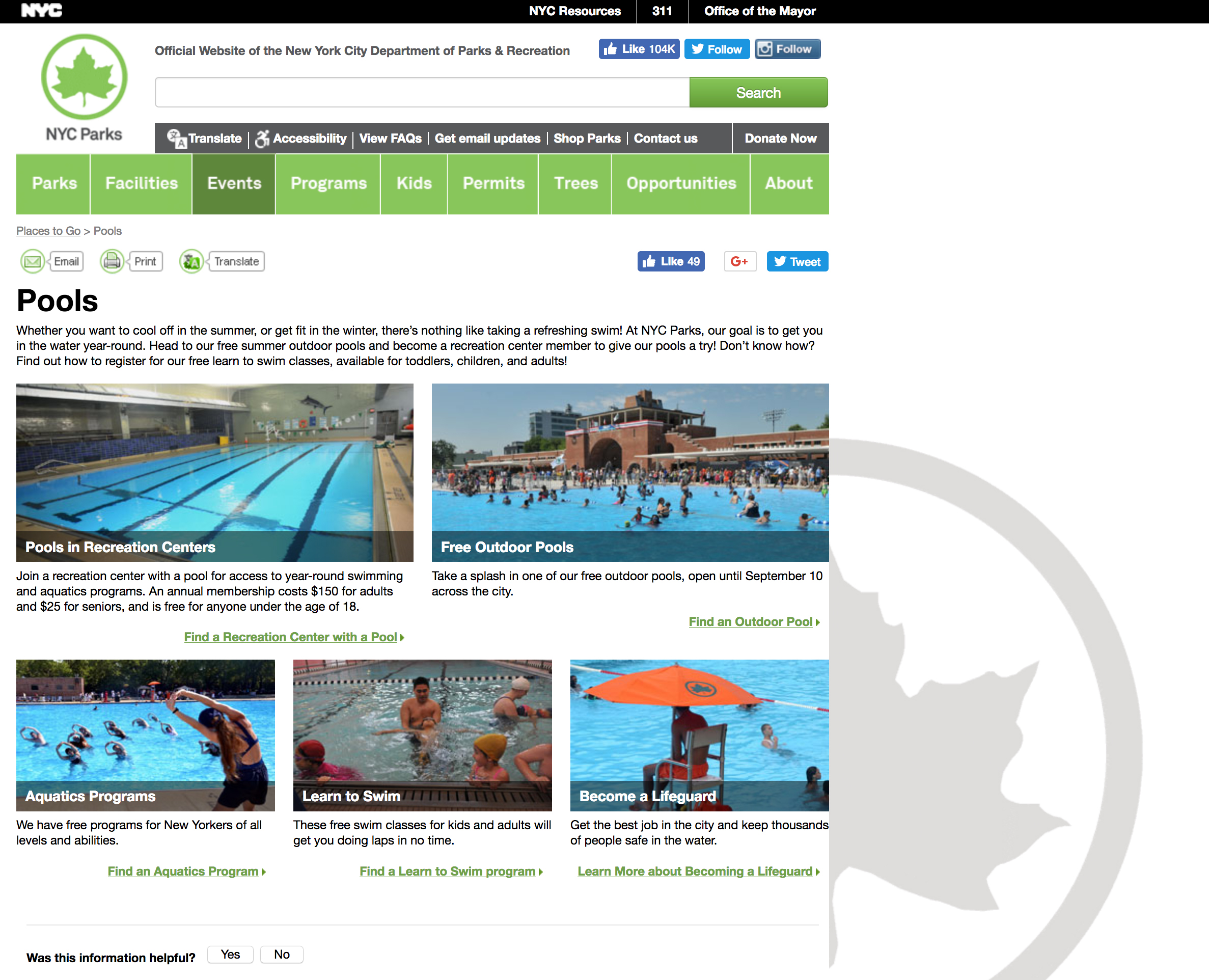 NYC Pool Website Captura de pantalla